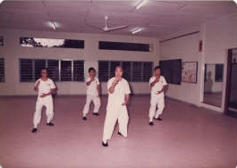 GM Huang leading a Tenom class in the new building 1981